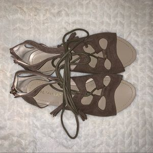 Shoes - Taupe suede gladiator sandals